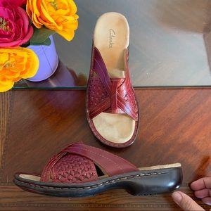 Women's Clarks Slip-on Leather Woven Sandals